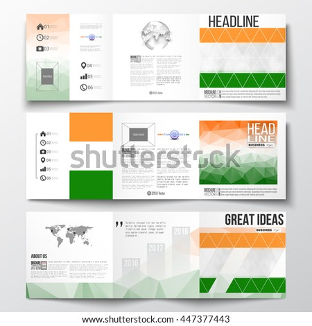 Set of vector tri-fold brochures, square design templates with element of world map and globe. Background for Indian Independence Day celebration with Ashoka wheel and national flag colors.