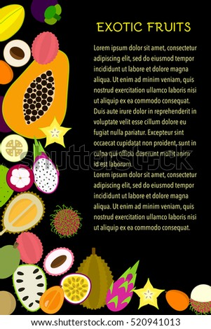 set of vector tropical flat icons. collection of exotic fruits for summer and vacation design or healthy and vegetarian concept. Great for poster or banner. magazine template.
