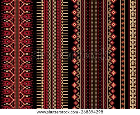 Set of vector ukrainian folk seamless pattern ornaments. Ethnic ornament. Border element. - stock vector