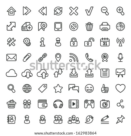 Set of vector universal outline icons, suitable for web browsing and social networking - stock vector