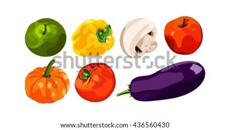 Set of vector vegetables. Healthy foods. Fresh and healthy food. Bright, juicy vegetables isolated vegetables on white background. Tomato, yellow pepper, mushroom, pumpkin, apples. - stock vector