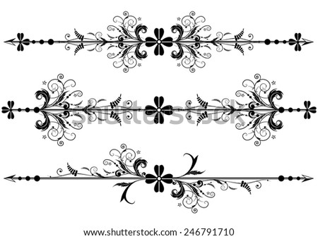 set of vector vignette with clover and arrows - stock vector