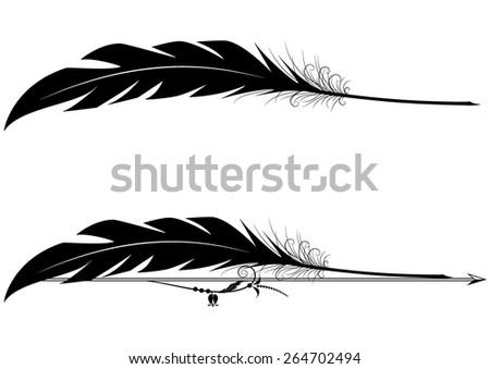 set of vector vignettes with feather pen in black and white colors - stock vector