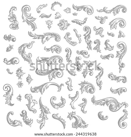 Set of vector vintage baroque engraving floral scroll filigree design - stock vector