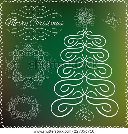 Set of vector vintage calligraphic design elements and page decoration. Hand-drawn xmas calligraphic and typographic elements. Merry Christmas and Happy New Year. Vector illustration. - stock vector