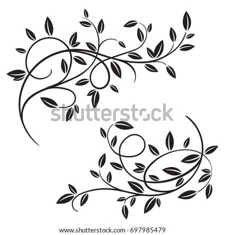 set vector vintage flourishes spring tree stock vector hd royalty rh shutterstock com flourishes vector free download vector flourishes and ornaments free