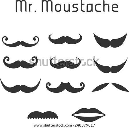 Set of vector Vintage/Hipster mustaches.