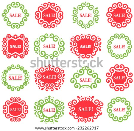 Set of vector Vintage Labels for Christmas Sales. Green and red frames on white