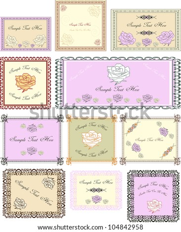 set of vector vintage labels in pastel colors with roses and place for  your text
