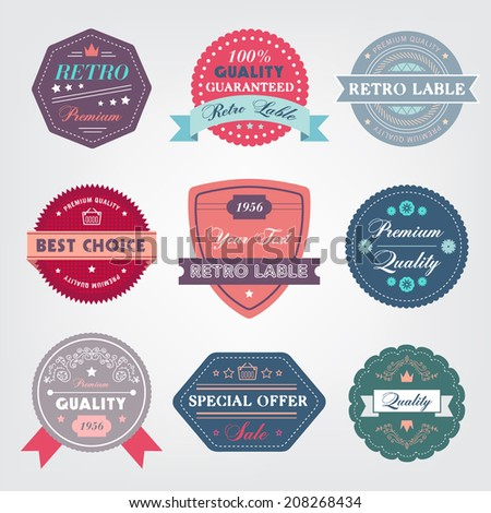 set of vector vintage labels, logos