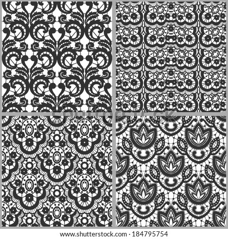 Set of vector vintage lace patterns