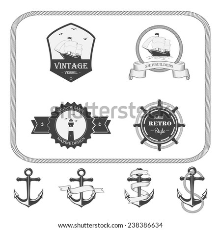 Set of vector vintage nautical labels, icons and design elements - stock vector