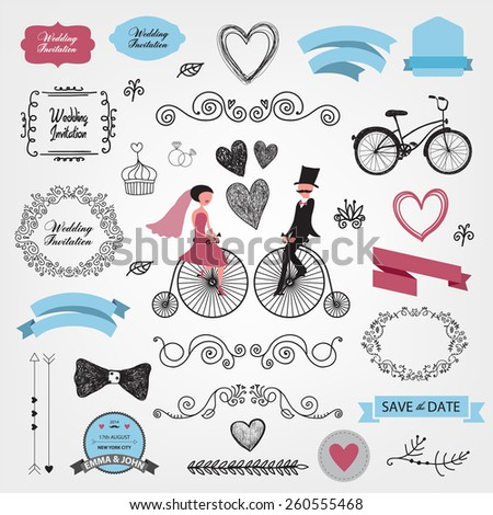 set of vector vintage wedding invitation design elements - stock vector