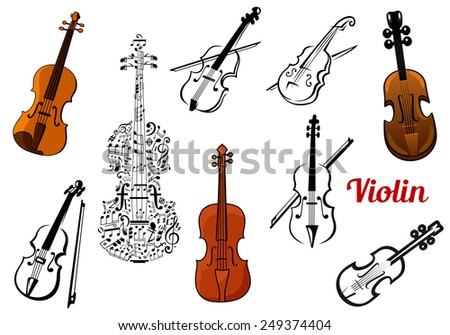 Set of vector violin music instruments in color or black and white some with a bow and one composed of music notes - stock vector