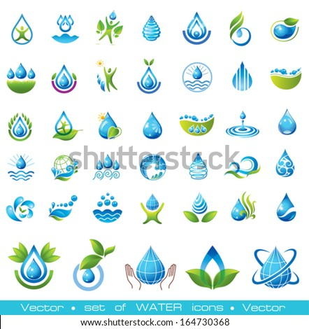Set of vector Water icons. - stock vector