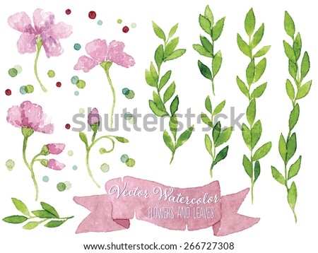 Set of vector watercolor botanical elements. Watercolor floral set.  Pink flowers, dusty pink ribbon, green leaves and colorful dots. Great for wedding cards, invitations and greeting cards. - stock vector