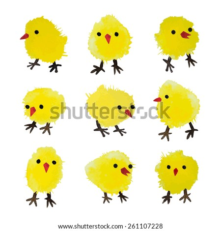 Set of vector watercolor chickens isolated on white background. Happy Easter day vector clip art for your design - stock vector
