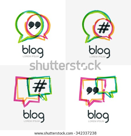 Set of vector watercolor hand drawn blog icon. Abstract isolated logo. Colorful square speech bubbles with hashtag symbol. Design concept for blog, chat, social media network, forum, communication. - stock vector