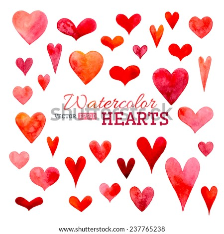Set of vector watercolor hearts. Hand-drawn various hearts isolated on white background. Wedding or Valentine's template.  - stock vector