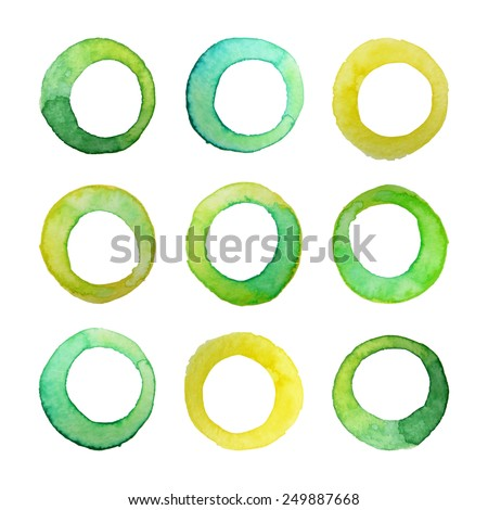 Set of vector watercolor rings for your design. Watercolor design elements isolated on white background. - stock vector