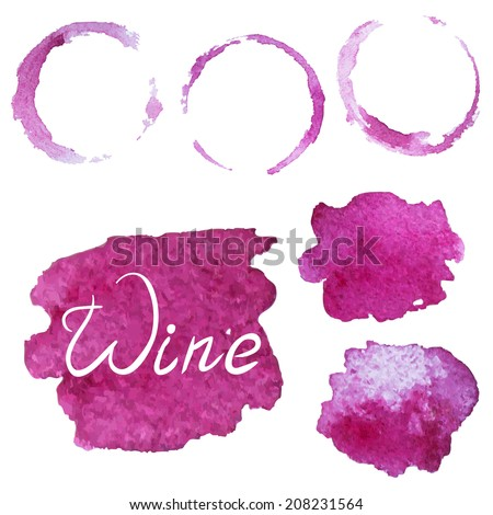 Set of vector watercolor splashes and stains of wine glass - stock vector