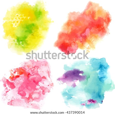 Set of vector watercolor textures representing four seasons of year: abstract blue and purple brushstrokes (snow), pink dabs (blooming flowers), green dots (grass), and orange stain (leaves) - stock vector