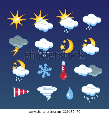 Set of 16 vector weather icons - stock vector