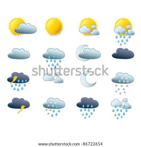 Set of vector weather icons - stock vector