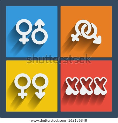 Set of 4 vector web and mobile gender icons in flat design. Symbols of man, woman, male, female, boy, girl, couple, xxx - stock vector