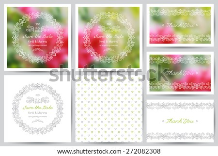 set of vector wedding invitations and cards with floral ornate - stock vector