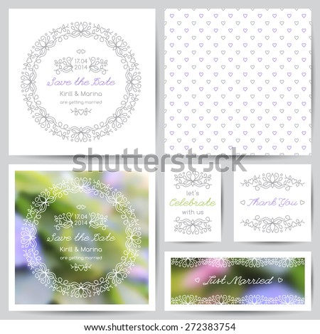 set of vector wedding invitations and cards with floral ornate and blurred backgrounds with violet flowers - stock vector