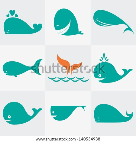 Set of vector whale icons - stock vector