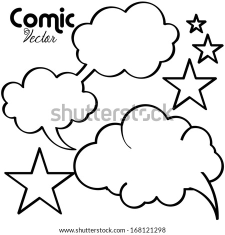 Set Of Vector White Comic Speech Bubbles Empty Isolated - stock vector