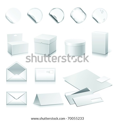 Set of vector white paper - packaging and stationery elements. - stock vector