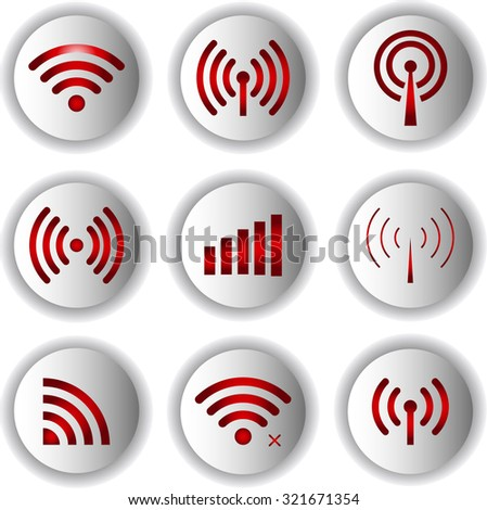 Set of vector Wi-Fi and Wireless icons for remote access and communication via radio waves. - stock vector