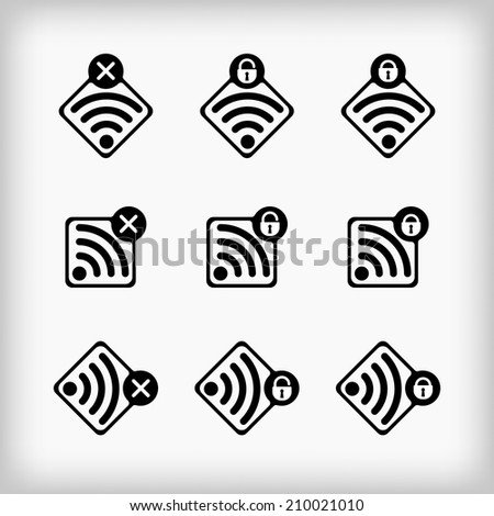 Set of vector wireless and wi-fi icons for design. - stock vector