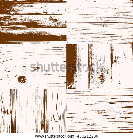 Set of vector wood texture background. Easy to edit and use as overlay. Vector grunge wood texture.  - stock vector
