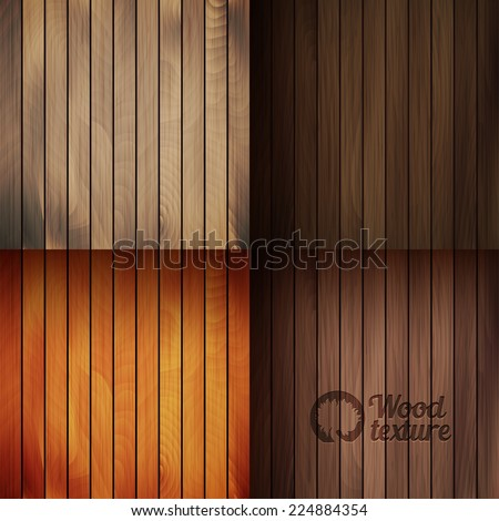 Set of vector wood texture backgrounds, four colors included - stock vector