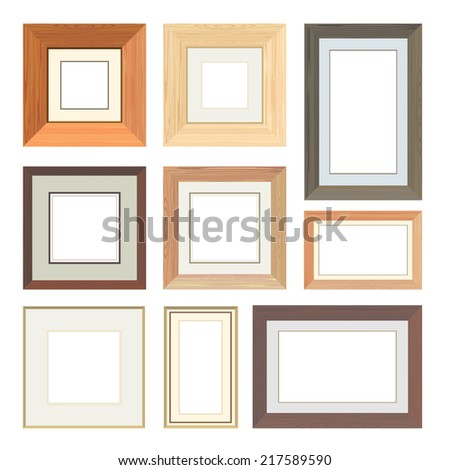 Set of vector wooden frames