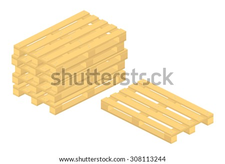 set of vector wooden pallet on white background - stock vector