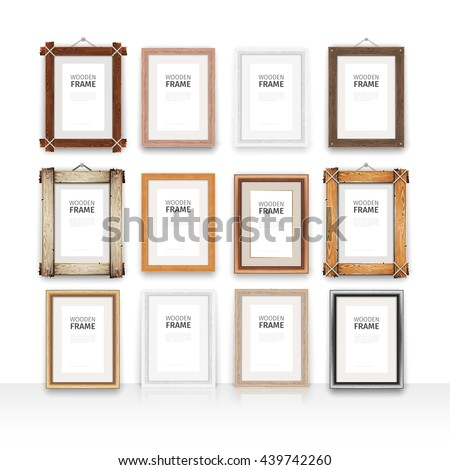 set of 12 vector wooden rectangle mockups frames place your artwork inside the vertical frame