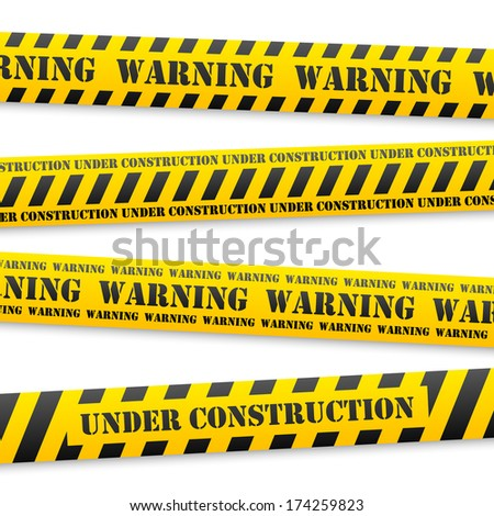 set of vector yellow tapes with black warning sign