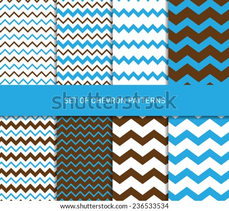 Set of vector zigzag chevron pattern background - stock vector
