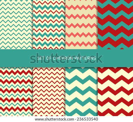 Set of vector zigzag chevron pattern background
