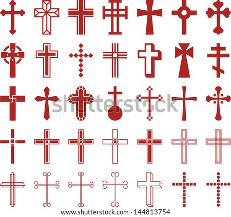 Set of vectorized Crosses - stock vector