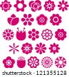 Set of Vectorized Flowers - stock vector