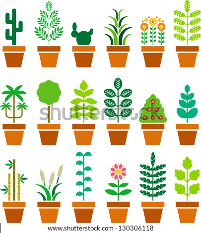 Set of vectorized plants in a pot - stock vector
