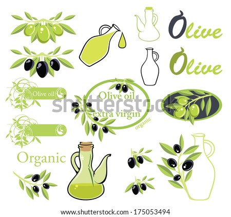 Set of vectors on olive oil theme - stock vector