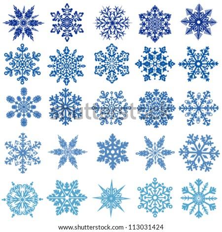 set of vectors snowflakes - stock vector