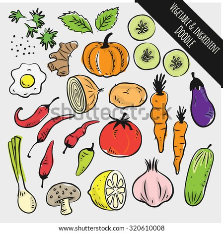 set of vegetable and ingredient doodle - stock vector